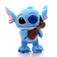 Collectible Blue Lilo Stitch Hold Guitar Plush Cartoon Moive Figure Doll Toy 7''