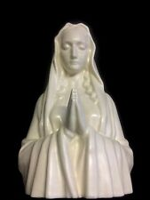 Stunning French Antique Porcelain Bust Of The Madonna , Crucifix Christ Statue
