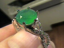 NATURAL AVENTURINE  SOLITAIRE RING 7 STERLING 925  SILVER WHITE GOLD SIZE 7