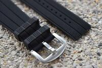 Silicone Watch Strap Bands Waterproof Stainless Buckle Black Color Width 30 mm.