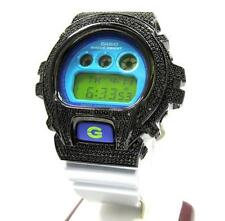 0.20ct Black Silver Diamond Mens Custom Casio G Shock DW 6900 Blue Grey Watch