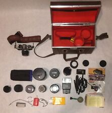 Nice PENTAX ME Super SLR Camera With 5 Lenses Flash Manuals And Storage Box