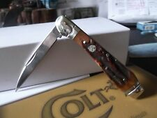 """COLT POCKET KNIFE MODEL CT-692 3 3/4"""" CLOSED WHARNCLIFFE BROWN STAG BONE"""