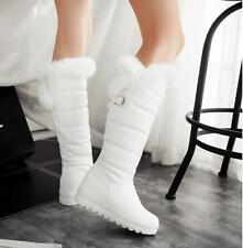 Womens Low Wedge Heel Platform Knee High WInter Snow Boots Furry Lined Shoes