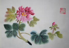 Oridental art Hand Paint Chinese Brush ink watercolor painting peony signed