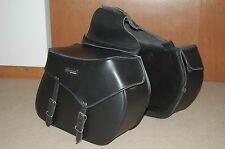 6th Gear - Black Leather Motorcycle Slant Saddle Bags Panniers Luggage