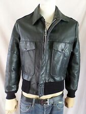 OAKTON LIMITED vintage black leather A-1 A-2 flight military bomber jacket SMALL