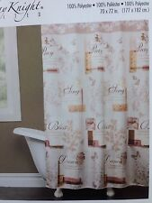 ELEGANT CHIC! INSPIRATIONAL QUOTES SHOWER CURTAIN FAUX SILK CREAM TAN BROWN NIP