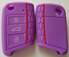 PURPLE SILICONE FLIP CAR KEY COVER for VW VOLKSWAGEN MK7 GOLF
