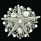 Wedding Bridal Starfish Brooch Broach Pins Jewelry Clear Rhinestone Crystal 6412