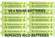 10 x AA 1,2 V 600mah Nimh Rechargeable Batteries Para Luces Solares-Reemplaza Nicd