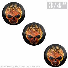 """3 Pack Gel Top Domed Glossy 3/4"""" 3M Premium Decal Stickers RED ORANGE FIRE SKULL"""
