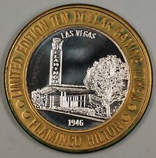 Flamingo Hilton 1946 Las Vegas Limited Edition Ten Dollar Silver Gaming Chip