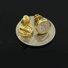 Men's Hip Hop Iced Out Cz Small Round Flat Screen Screw Back Stud Earring E85