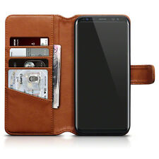 Genuine Real Leather Wallet Case for Samsung Galaxy S8 Plus - Cognac