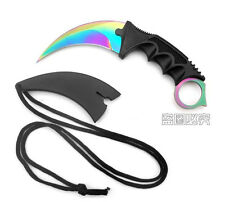 NEW Outdoor KARAMBIT NECK KNIFE Survival Hunting Fixed Blade+Sheath