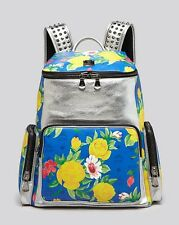MCM Backpack Rucksack Paradiso Silver Blue Floral Studded Straps Visetos New