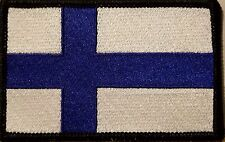 FINLAND Flag Morale Patch With VELCRO ®  Brand Fastener BLACK Border