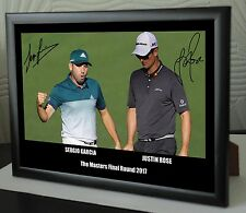 "Sergio & Justin The Masters 2017 Golf Framed Canvas Tribute Signed ""Great Gift"""