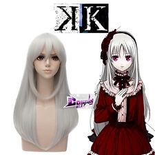 Kushina Anna Sliver White Long 60cm Anime Cosplay Wig