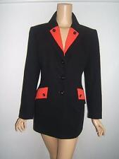 ESCADA 40 10 SEXY 80's RED Black Wool Designer Vintage Womens Blazer Jacket