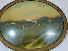 Antique Convex Bubble Glass Oval Frame Barn Farm Picture Vintage Art