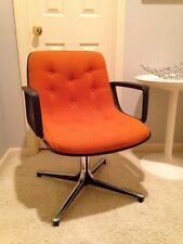 Mid Century Modern Office Accent Chair Orange Knoll Pollock Era