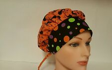 HALLOWEEN  BLACK CAT / SCRUB HAT- BOUFFANT STYLE / MEDICAL SURGICAL PONYTAIL