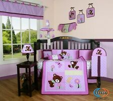 Baby Boutique Girl Teddy Bear GEENNY 13PCS Nursery CRIB BEDDING SET