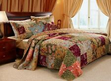 King Quilt Set Antique Chic Patchwork French Country Cotton plus 2 Pillows