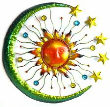 3D Sun Moon Stars Metal Wall Art Indoor Outdoor Hanging Sculpture Decor Jewels