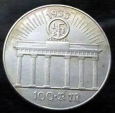 ADOLF HITLER 100 REICHSMARK 1933 NAZI GERMAN COIN 36mm THIRD REICH WW2