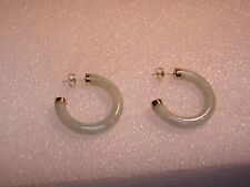 14K YELLOW GOLD WITH JADE CYLINDRICAL HOOP PIERCED EARRINGS N620-L