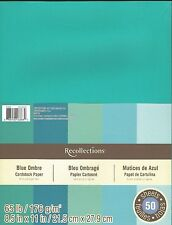 "New Recollections 8.5x11"" Cardstock Paper Blue Ombre Teal, Turquoise, 50 Sheets"