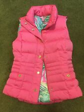Lilly Pulitzer Fitted Isabelle Down Puffer Vest Flamingo Pink Orig. $198 SZ XXS