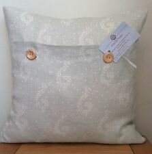 Susie Watson **SHALINI WITH DOTS** Duck Egg Linen Cushion Cover 40cm
