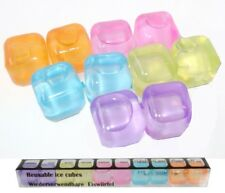 NEW SET OF 10 COLOURFUL REUSABLE SQUARE ICE CUBES BOXED EDCO