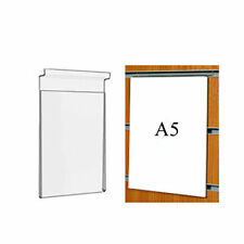 5 x A5 Acrylic Slatwall Poster Holders Perspex Price Sign Slat Board Displays