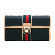 Women's Classic Two-Tone Tri-fold Wallet with Buckle & Stripe Accent - Black/Tan