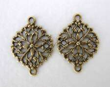 Antiqued Brass Ox Oval Flower Filigree Connector Finding 17mm