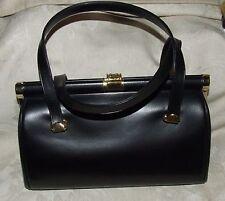 VINTAGE 1950s Bag by COBLENTZ Black Leather Handbag Goldtone Trim w/ Tag