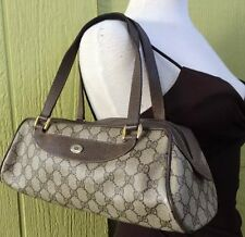 Gucci Brown Monogram GG Logo Baguette Long Hobo Duffel Shoulder Bag Vintage
