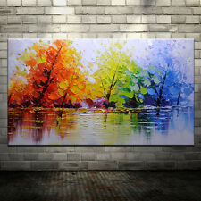 Large Handpainted Color Tree Abstract Landscape Oil Paintings On Canvas Wall Art