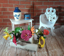 Barbie Outdoor, Garden, Patio Furniture Set, White Chair, Table, Flowers, Etc.