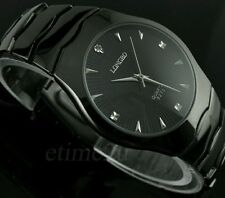 Hot Black Alloy Steel Analog Mens Quartz Watch Classic Dress Watch