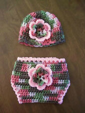 """PINK CAMO HAT & DIAPER COVER crochet baby girl 14"""" newborn 3 months made in USA!"""