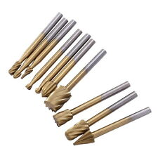 10PCS 3mm HSS Routing Burrs Wood Rotary Drill Die Grinder Carving Bit Cutter Set