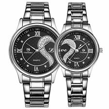 OOFIT His and Hers Matching Watches Stainless Steel Couple Watch Set Women Men