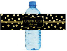 Gold Confetti w black wedding anniversary Engagement party Water Bottle Labels