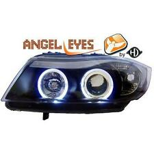 Coppia fari fanali anteriori TUNING BMW Serie3 E90 E91 05-08 nero ANGEL EYES